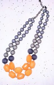 Jewelry - Fun grey and orange beaded necklace